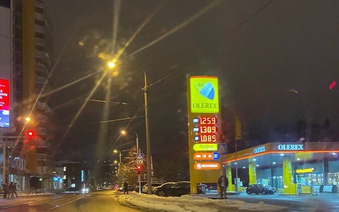 Latest fuel prices at a central Tallinn filling station Monday.