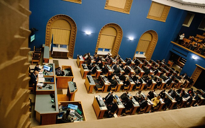 The riigikogu sitting on Monday, December 14, where the marriage referendum bill passed its first reading.