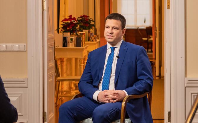 Jüri Ratas being interviewed on Tuesday's