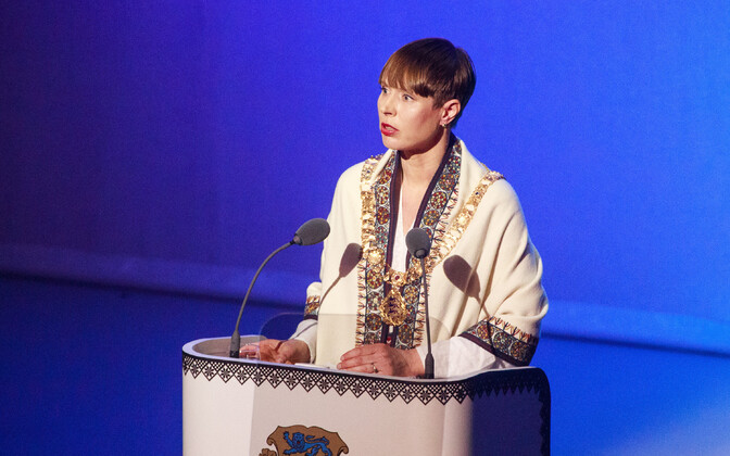 President Kersti Kaljulaid giving her speech at last year's Independence Day event.