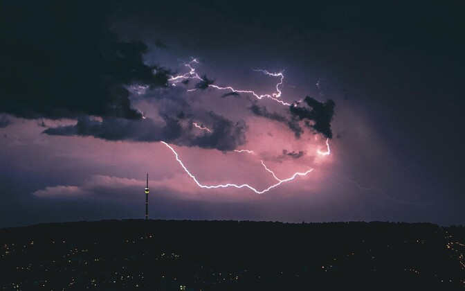Suvine äikesetorm Stuttgartis.