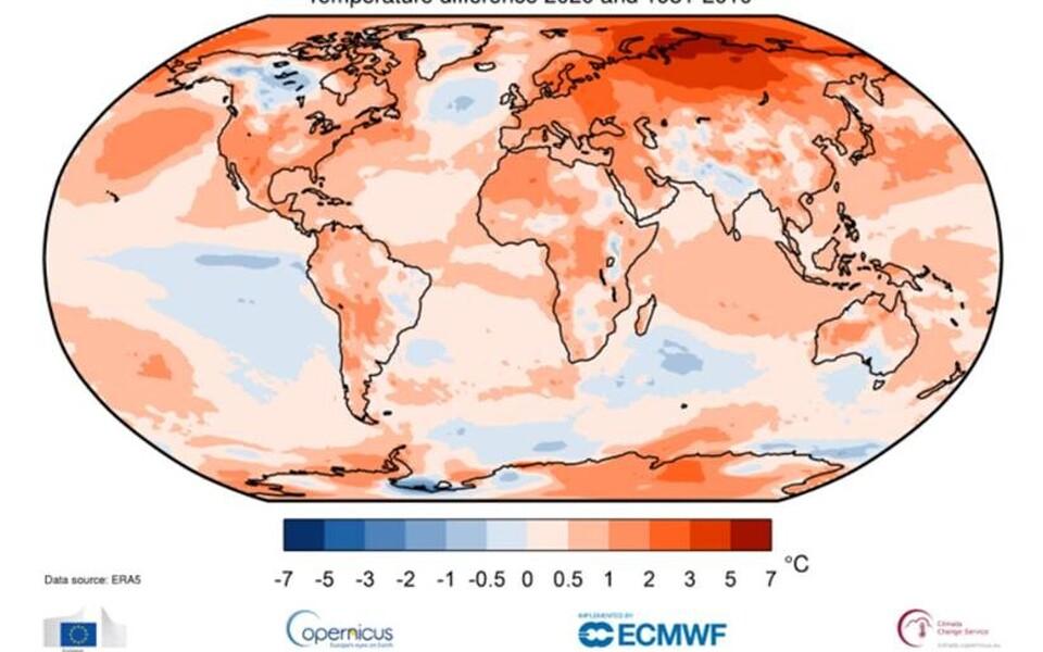 Maapinnast kahe meetri kõrgusel oleva õhu temperatuur 2020. aastal võrreldes 1981–2010 aastate keskmisega.
