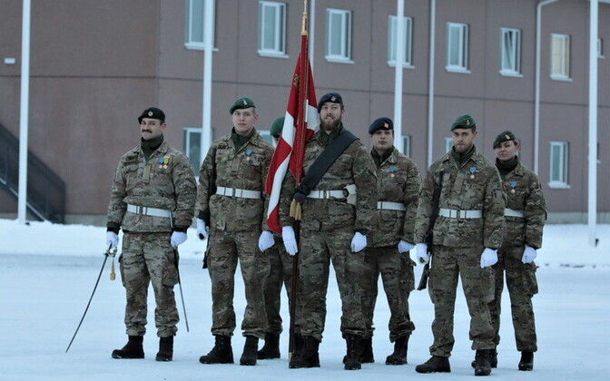 Danish NATO personnel at Friday's farewell ceremony at Tapa