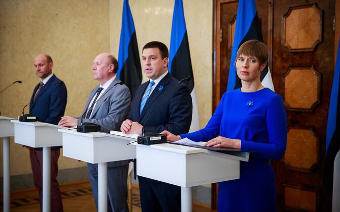 President Kersti Kaljulaid, Keskerakonna esimees, peaminister Jüri Ratas, EKRE tollane esimees, siseminister Mart Helme, Isamaa esimees Helir-Valdor Seeder.