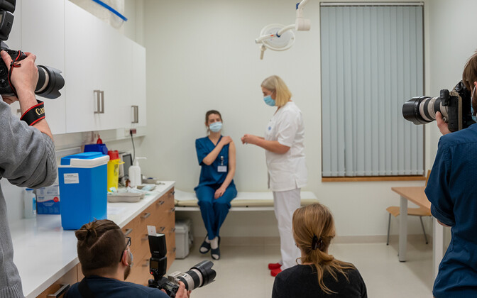 The first COVID-19 vaccines being administered in Estonia on December 26.