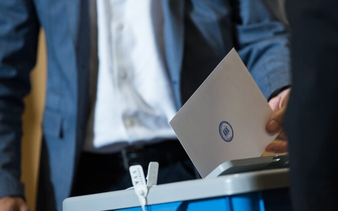 A ballot being cast in the 2016 Estonian presidential elections.