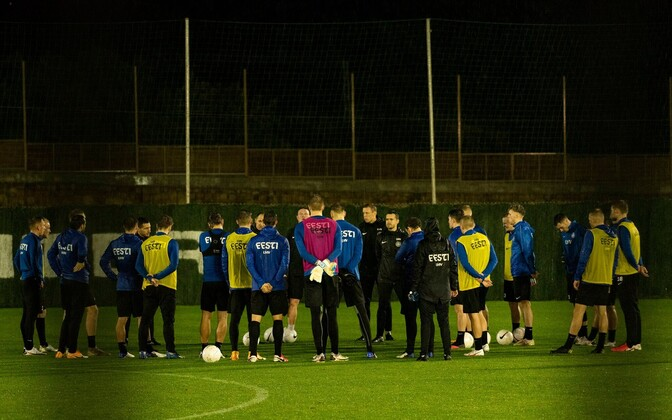 Estonian national football team during training.