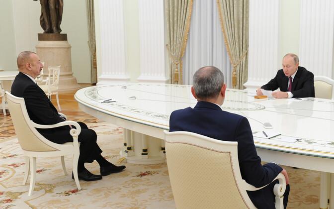 Переговоры Ильхама Алиева, Никола Пашиняна и Владимира Путина в Кремле.