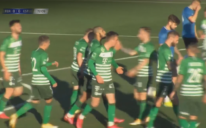 Ferencvárosplayers celebrating the sole goal of the game.