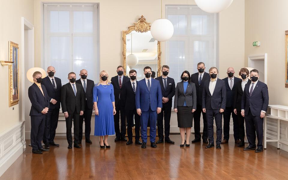 Последний состав второго правительства Юри Ратаса 14 января 2021 года.