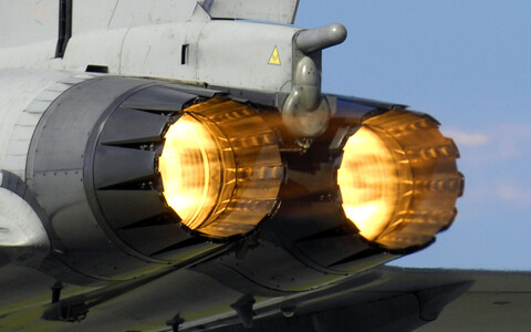 Afterburners on a Eurofighter Typhoon in RAF (British) service.