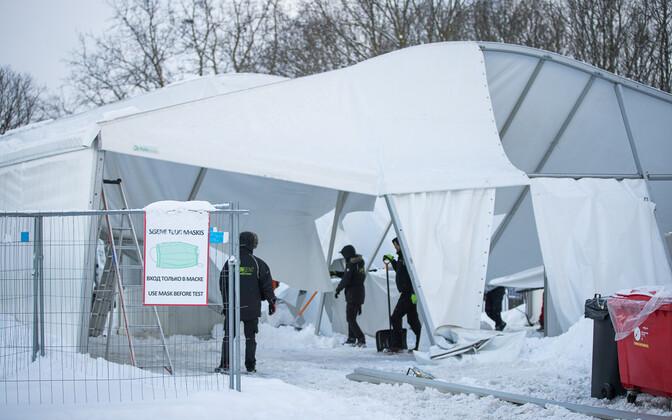 Палатка тестирования на коронавирус у Певческого поля в Таллинне.