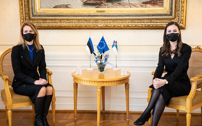 Press conference during official Kaja Kallas' official visit with Sanna Marin in Helsinki.