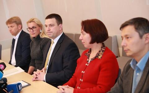 Keskerakonna juhid (alates vasakult): Jaanus Karilaid, Kadri Simson, Jüri Ratas, Mailis Reps, Mihhail Kõlvart.
