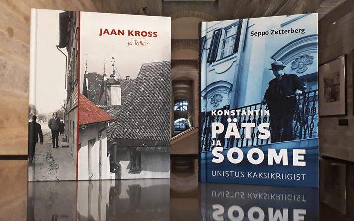 "Maarja Unduski koostatud ""Jaan Kross ja Tallinn"" ja Seppo Zetterbergi ""Konstantin Päts ja Soome. Unistus kaksikriigist""."