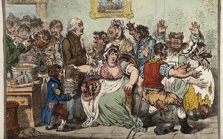 Kunstniku loodud karikatuur esimesena vaktsiini kasutusele võtnud Edward Jenneri töö tagajärgedest.