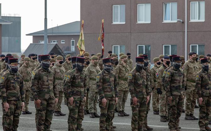Tapa ceremony welcoming 1st Battalion, Mercian Regiment and 12e Régiment de Cuirassiers.