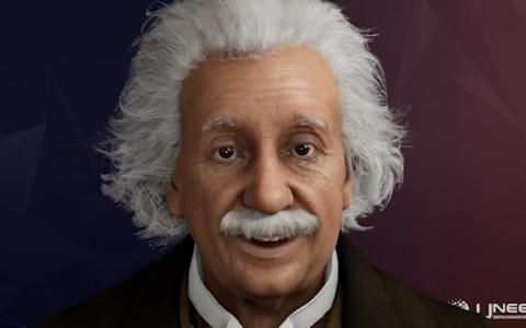 Ekraanil kuvatud ja saksa aktsendiga inglise keelt kõnelev Einstein on vägagi tõetruu.