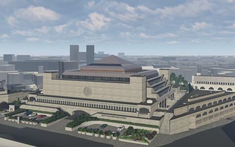 Rekontrueeritud rahvusraamatukogu hoone visuaal.