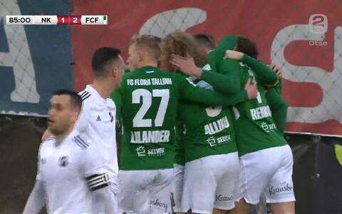 FC Flora mängijad tähistamas Rauno Alliku võiduväravat