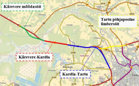 The planned route for Tartu's northern bypass.