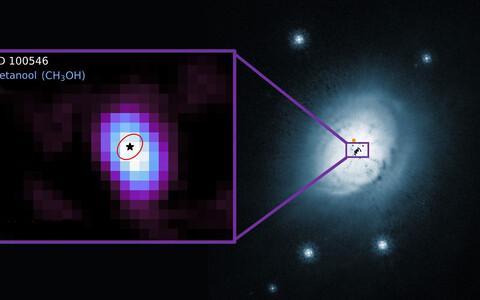 Täht, mille juurest metanooli avastati, on koos end ümbritseva kettaga umbes kümne miljoni aastane ja asub meist umbes 360 valgusaasta kaugusel lõunataevas Kärbse tähtkujus.