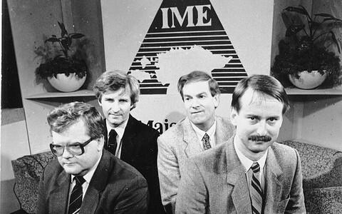Isemajandava Eesti NSV ettepaneku autorid Edgar Savisaar, Mikk Titma, Tiit Made ja Siim Kallas 1988. aastal ETV saates.