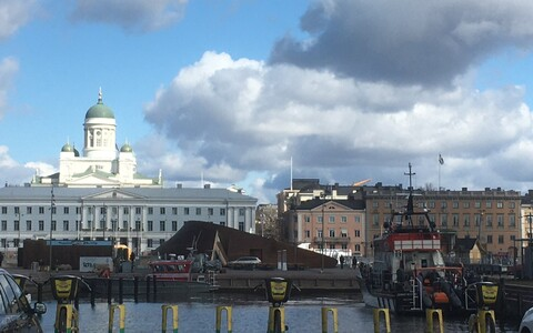 Central Helsinki skyline viewed from Kauppatori.