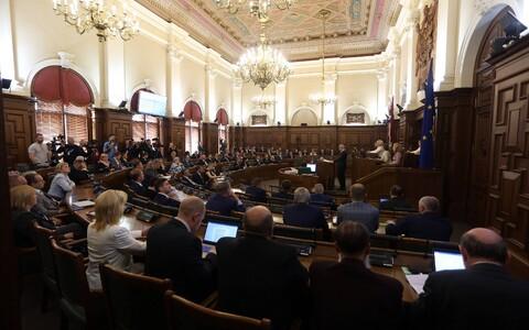 Зал заседаний латвийского парламента.