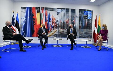 Президенты Латвии, США и Литвы и премьер-министр Эстонии Кая Каллас.