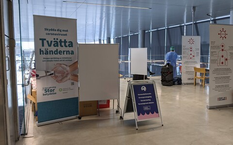 Пункт тестирования на коронавирус в порту Хельсинки.