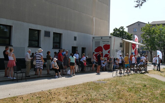 Vaccination bus visits Sillamäe, Ida-Viru County.