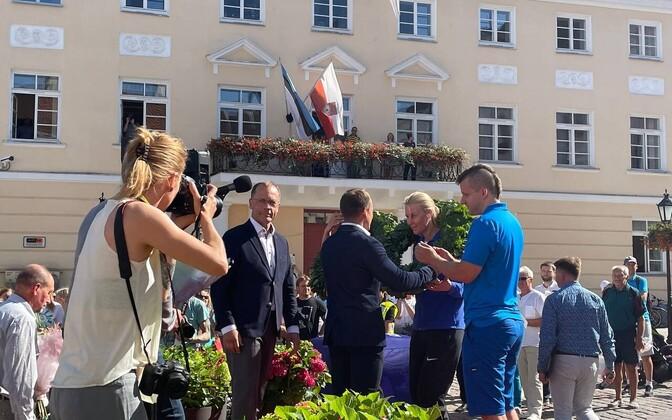 Встреча олимпийской чемпионки Юлии Беляевой в Тарту.