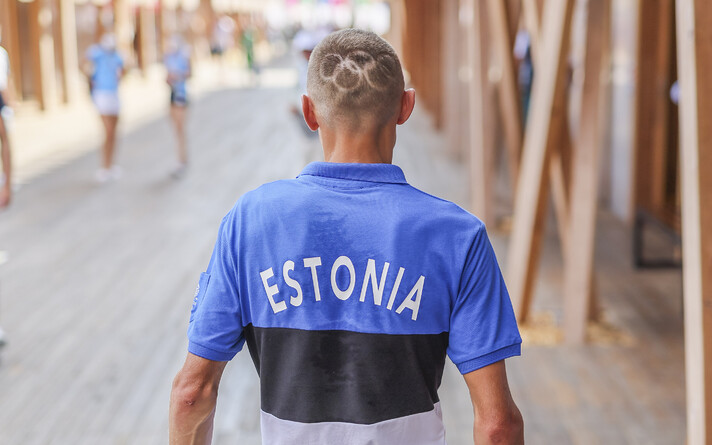 Эстонские спортсмены на пресс-конференции, 31 июля.