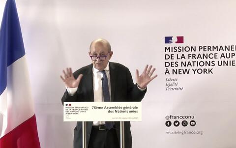 Министр иностранных дел Франции Жан-Ив Ле Дриан в Нью-Йорке.