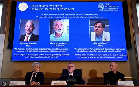Nobeli füüsikapreemia laureaadid Syukuro Manabe, Klaus Hasselmann ja Giorgio Parisi.