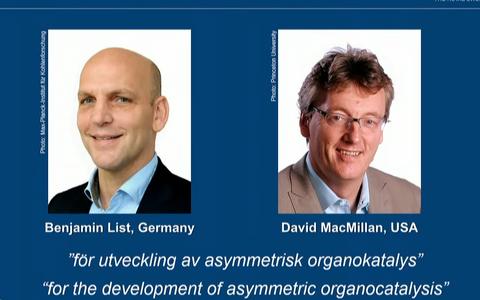 Selleaastased keemianobelistid Benjamin List ja David MacMillan.